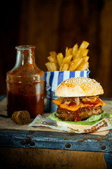 Tasty Burger Quarter Pounder in Rustic Style
