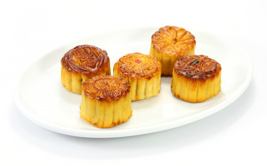 Moon cake on white plate