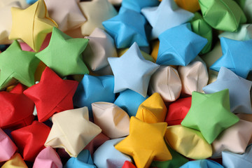 Colorful origami lucky stars