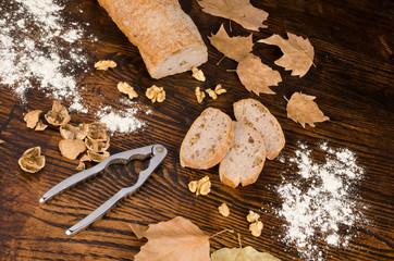 Freshly baked walnut bread