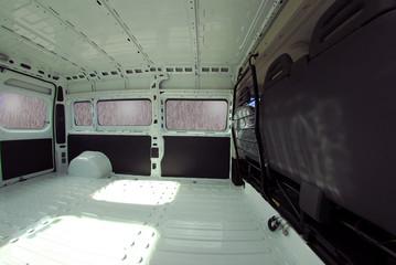 Inside commercial van