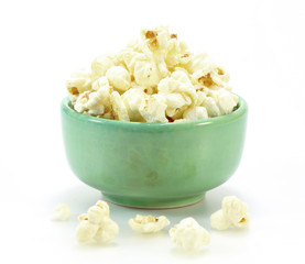 Bowl of popcorn on white background