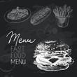 Fast food hand drawn chalkboard design set. Black chalk texture