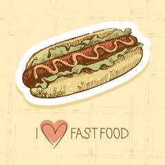 Vintage fast food background. Hand drawn illustration.