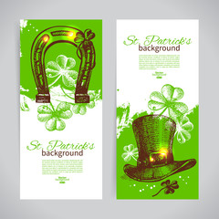 Set of St. Patrick's Day banners with hand drawn sketch