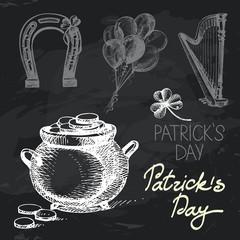 St. Patrick's Day hand drawn chalkboard design set.