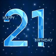 21 year birthday, 21st anniversary polygon emblem1