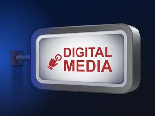 digital media words on billboard