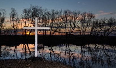 Sunset Winter Cross