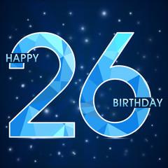 26 year birthday, 26th anniversary polygon emblem