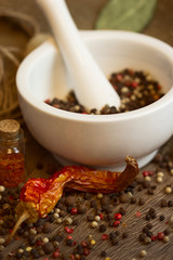 Mortar & pestle with pepper and chili