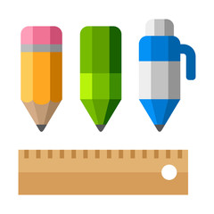 Drafting Tools. School Equipment Icons