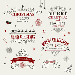 Vector Illustration of Christmas Design Elements