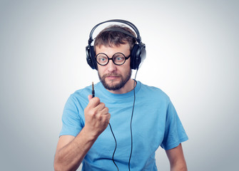 Bearded man in headphones