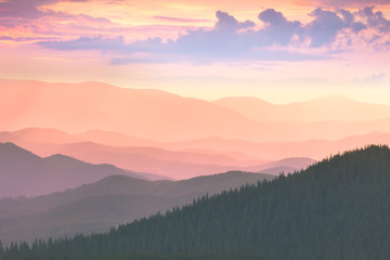 Colorful Sunset in the Mountains