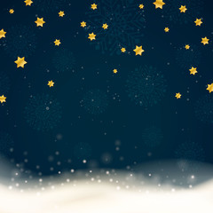 Vector Winter Background with Stars and Snowflakes