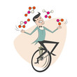 jonglieren einrad zirkus unterhaltung mann