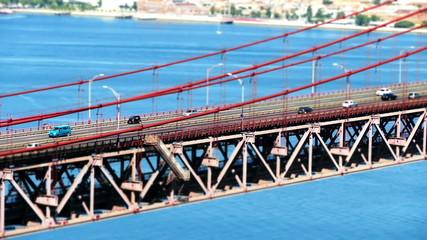 Traffic on the 25 de Abril Bridge in Lisbon, Portugal. Timelapse