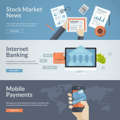 Flat design concepts for online payment and news