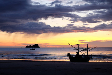 Fisherman boat and seascape, south of Thailand