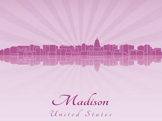 Madison skyline in purple radiant orchid