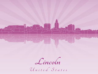 Lincoln skyline in purple radiant orchid
