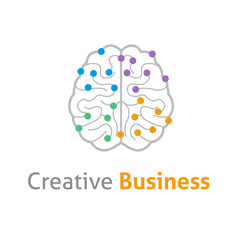Brain creative vector logo design template