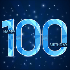 100 year birthday, 100th anniversary polygon emblem