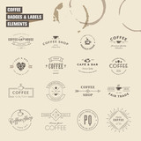 Fototapety Set of badges and labels elements for coffee