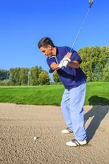 Golfspieler im Bunker