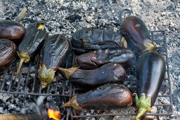 Outdoor fire roasted eggplant