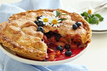 Peach and blueberry summer pie
