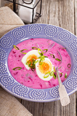 Cold soup with beetroot and kefir