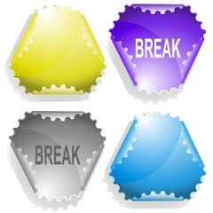Break. Vector sticker.