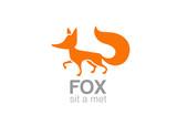 Fox Logo silhouette vector design. Wild Animal Logotype icon