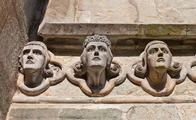 Head sculptures of Stavanger Cathedral  (XIII c.). Norway