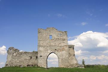Ruins of Kudryntsi Castle in Ternopil region of Ukraine