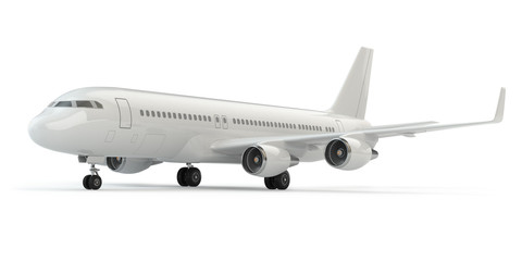Airplane on white isolated background.
