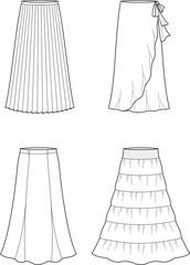 Vector illustration of women's long skirts