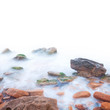 Shore of the sea, rocks and flowing water - white background