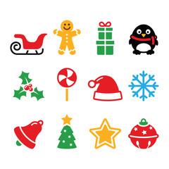 Christmas icons set - Santa, xmas tree, present