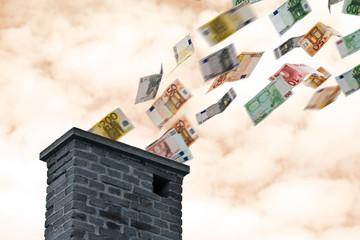 euro money flies up the chimney