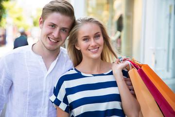 Happy couple on shopping