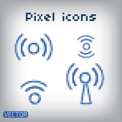 Set blue vector wireless and wifi icons.