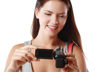 woman looking at videocamera