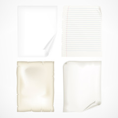 Set of different white sheet papers, vector illustration