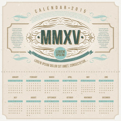 Vector template design - Ornate vintage calendar of 2015