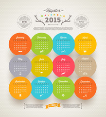 Vector template design - Calendar 2015 with hipster symbols