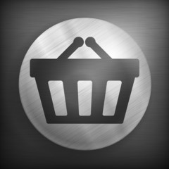Shopping basket silhouette in round on dark, vector illustration