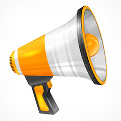 Yellow megaphone on white, vector illustration